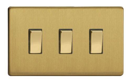 Varilight XDB93S Screwless Brushed Brass 3 Gang 10A 1 or 2 Way Rocker Light Switch (Twin Plate)